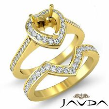 Diamond Engagement Pave Ring Heart Bridal Sets 14k Gold Yellow Semi Mount 0.86Ct