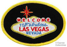 LAS VEGAS SIGN IRON-ON BIKER PATCH MOTORCYCLE POKER embroidered GAMBLING welcome