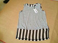 LULU & ROSE Womens NEW Stripy Grey Fash Top 10  Black White Striped BNWT $50