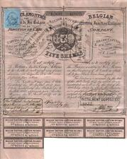 Original Belgium Bond 1852 Belgian Eastern Junction Railway £25 revenue coupons