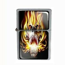 Wind Proof Dual Torch Refillable Butane Lighter Skull Design-020