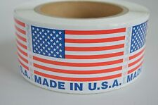 """Made In USA Labels USA Flag Sticker 2"""" x 3"""" 48 ROLLS 500 label per roll BPA Free"""