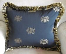 New EMBROIDERED SCROLL Cushion Covers With SILKY FRINGE Black & Gold