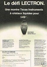 Publicité advertising 1977 La Montre Lectron Texas Instruments