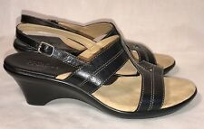 """STRICTLY COMFORT Houston 7.5 M Black Leather SANDALS Shoes 1.75"""" Wedge Heels $60"""