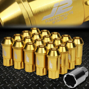 J2 ENGINEERING 7075 ALUMINUM M12X1.5 20PCS 50MM OPEN END LUG NUT SET+KEY GOLD