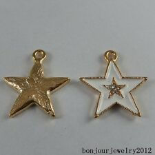 50984 Gold&White Alloy Star Enamel Craft Findings Accessory Pendants Crystal 14x