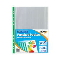 A4 Premium 90 Micron Strong Clear Plastic 25 Punch Punched Pockets Multi Filing