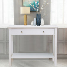 White Wooden Console Hall Table Dresser with 2 Drawers Suit for Narrow Room