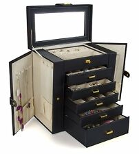 Jewelry Box For Girls Men Teens Little Boxes Stand Up Leather Case Storage Black