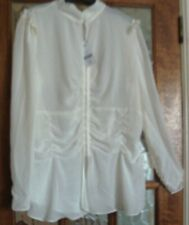 BNWT NEXT Sheer IVORY CREAM ECRU Elasticated Panel VICTORIANA FRILL Blouse 20