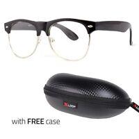 Fashion Half Frame CLEAR LENS GLASSES Black Color Vintage Retro FREE CASE v