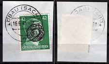 Löbau 18 Briefstück, 42 Pf. Hitler mit Aufdruck, gepr. Zierer BPP