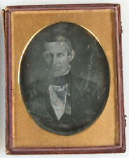 DAGUERREOTYPE MAN WITH PIERCING EYES. 1/4 PLATE FULL CASE, COLLINS OF PHILA.