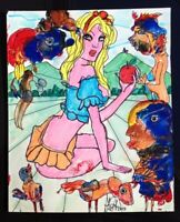 "GRAFE/DALI, Acryl auf Karton 17 x 21 cm ""Naturerlebnis"" Unikat Surrealismus"