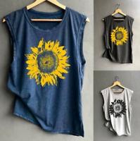 Women Summer Sunflower Sleeveless Casual Workout T Shirts Tank Tops Blouse Tops