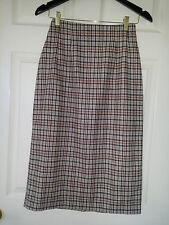 SAVANNAH LADIES WOOL BROWN & BEIGE PLAIDS MIDI SKIRT LINED SIZE 6 P