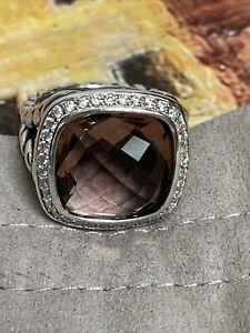 David Yurman SS Albion 14mm Morganite & Diamond Ring. Size 7