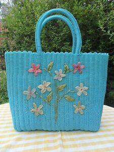 50s Small Turquoise Blue Plastic Wicker Shopping Beach Bag Basket Flower Design