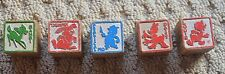 lot 5 Vintage wooden Disney letter block~Bambi~Thumper~Daisy~Louis~Practical pig