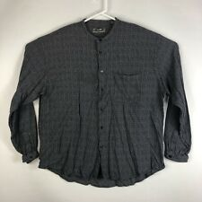 Mens XL Wilke Rodriguez Crew Neck Button Up Shirt Long Sleeve Black & Gray Check