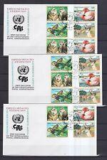 UNO Genf 1998 FDCs mit 16 Zusammendrucke von MiNr. 330-333  Gefährdete Arten