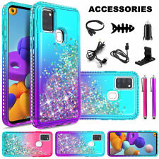 For Samsung Galaxy A21s Luxury Liquid Glitter Bling Phone Cover Case + Accessory