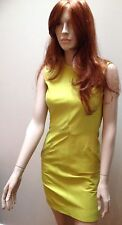 Stephen Sprouse Neon Yellow Leather Shift Dress Xs