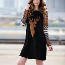 New Ladies Women Sweater Pullover Christmas Hooded Winter Xmas Jumper Mini Dress