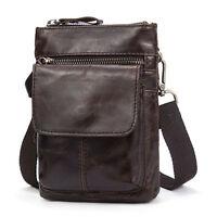 Men Vintage Casual Leather Shoulder Crossbody Bag Hook Belt Waist Fanny Pack