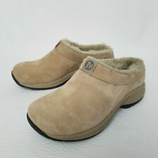 Merrell Mocs Womens Size 5.5 Tan Brown Fur Lined Hiking Loafers Clogs Shoes