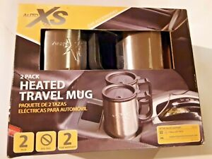 Auto XS 12V Electric Heated Travel Mugs Stainless  Coffee Tea Cup Warmer 2-Pack