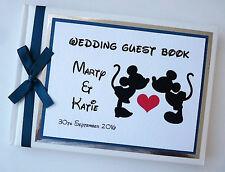 Personalizado Disney Mickey & Minnie boda libro de visitas (TEAL) - Cualquier Color