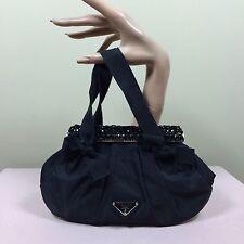 PRADA Damen Tasche Schwarz Abendtasche Jet Perlen Nylon Bag Designer Glamour