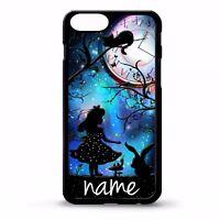 Alice in wonderland personalised name silhouette art vtg phone case cover