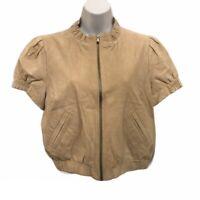 Stile Benetton Womens Beige Tan Suede Leather Cap Sleeve Bomber Jacket Size L