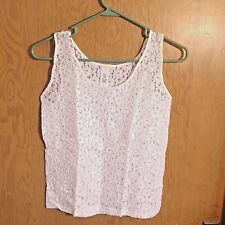 Sheer Lace Womens Tank Top Shirt Small Flower Floral Sleeveless White New  C15