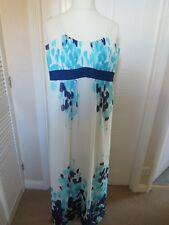 JACQUES VERT 10/12 IVORY/TURQ/PURPLE LINED MAXI LINED DRESS WORN TWICE!