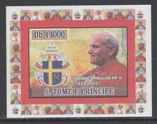 St Thomas & Prince 5760- 2007 POPE JOHN PAUL II   imperf deluxe sheet u/m
