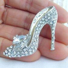 Elegant Clear Rhinestone Crystal High-heeled Shoes Brooch Pin Bridal 05865C5