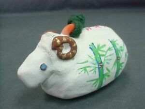 Japanese Zodiac Sheep Bell Clay Dorei Ceramic Vtg Hand painted Pottery  DR70