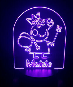 Personalised Peppa Pig Kids Colour Changing LED Bedside Lamp with remote