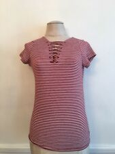 Small Poof Junior Women's Burgundy and White Striped Short Sleeve Lace Up  Top