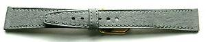 16mm FLEURUS PECCARY GRAIN GREY FLAT LEATHER WATCH BAND / STRAP - SILKY SOFT