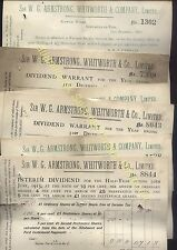 More details for 1912-13 sir w.g.armstrong, whitworth & co ltd dividend six receipts for shares