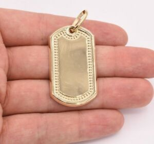 "2.25"" Dog Tag Plain Shiny Charm Pendant Real 10K Yellow Gold Great Gift!"