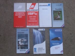 TIMETABLES(7)  ICELAND AIR:1981,1982,1989(DC-8-63 CUT-A-WAY)1992,1995,1997,1999