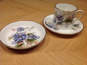 Vintage Royal Worcester Florena Coffee Cup, Saucer and Biscuit/Pin Dish