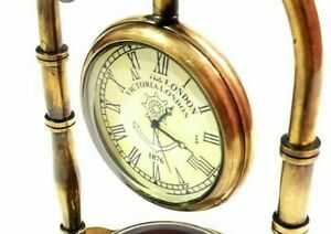 New Antique Nautical Victorian London Brass Table Top Decor Clock with Compass