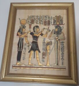 Egyptian Canvas Wall Art On Papyrus Paper W/ Real Gold Leaf. Framed And Signed.